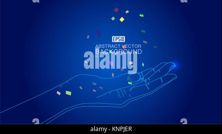 The hand that is drawn by the line catches the scattered colored fragments - Stock Photo