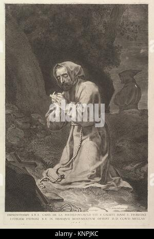 St. Francis of Assisi. Artist: Claude Mellan (French, Abbeville 1598-1688 Paris); Dedicatee: Dedicated to François - Stock Photo