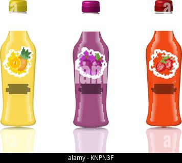 Glass beverage bottle set. Fresh juices, lemonade, drinks in a realistic, 3d style. Mock-up for your product design. - Stock Photo