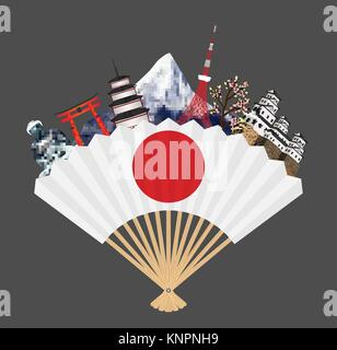 japan flag on fan with japan travel landmark - Stock Photo