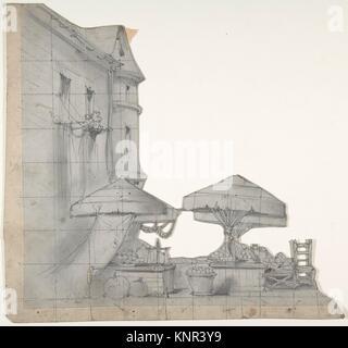 Design for a Stage Set at the Opéra, Paris. Artist: Eugène Cicéri (French, Paris 1813-1890 Fontainebleau); Date: - Stock Photo