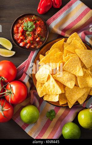 mexican salsa dip and nachos tortilla chips - Stock Photo