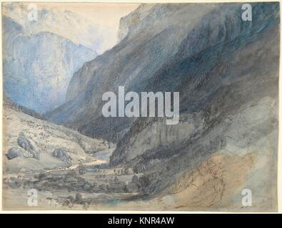 The Valley of Lauterbrunnen, Switzerland. Artist: John Ruskin (British, London 1819-1900 Brantwood, Cumbria); Date: - Stock Photo
