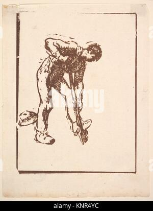 Digger. Artist: Jean-François Millet (French, Gruchy 1814-1875 Barbizon); Date: 1863; Medium: Woodcut in brown ink - Stock Photo