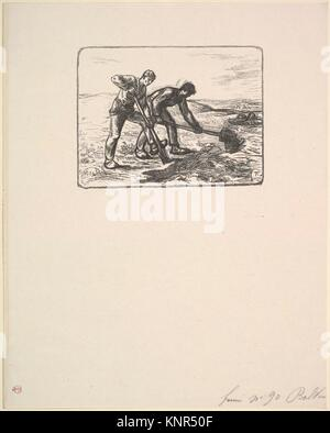 The Diggers. Artist: After Jean-François Millet (French, Gruchy 1814-1875 Barbizon); Artist: Engraved by Eugène - Stock Photo