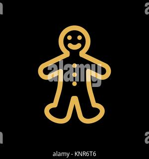 Gingerbread cookie man simple flat icon vector. - Stock Photo