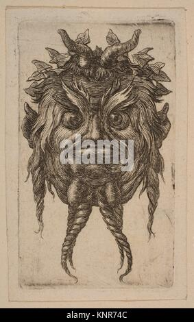 Mask. Artist: Attributed to Stefano della Bella (Italian, Florence 1610-1664 Florence); Medium: Etching; Classification: - Stock Photo