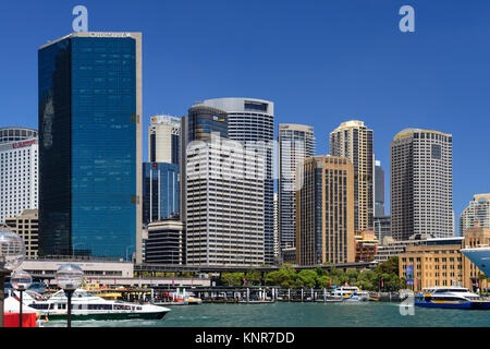 High-rise buildings in the Central Business District of Sydney, from east side of Circular Quay - Sydney, New South - Stock Photo