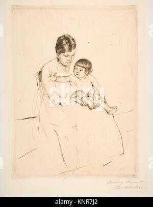 The Stocking. Artist: Mary Cassatt (American, Pittsburgh, Pennsylvania 1844-1926 Le Mesnil-Théribus, Oise); Date: - Stock Photo