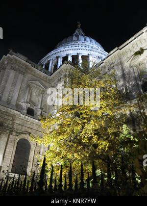 St Pauls Cathedral London England. Shot at night looking up at the sky . - Stock Photo