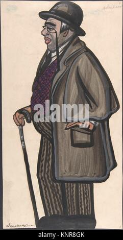 Man wearing a purple and red vest, with a pince-nez and bowler. Artist: Sergey Sudeykin (Russian, Smolensk 1882 - Stock Photo