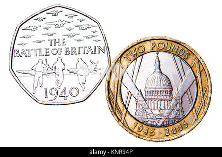 British commemorative coins.  50p coin: 75th Anniversary of the Battle of Britain (Gary Breeze: 2015) £2 coin: 60th - Stock Photo
