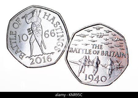 British commemorative 50p coin. 75th Anniversary of the Battle of Britain (Gary Breeze: 2015) 950th anniversary - Stock Photo