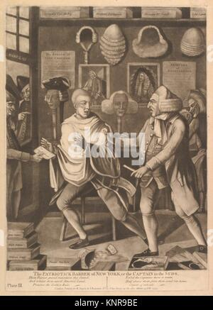 The Patriotick Barber of New York, or the Captain in Suds. Artist: Attributed to Philip Dawe (British, 1745?-?1809); - Stock Photo