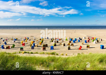 Beach view from Dunes on the Island of Juist - Stock Photo