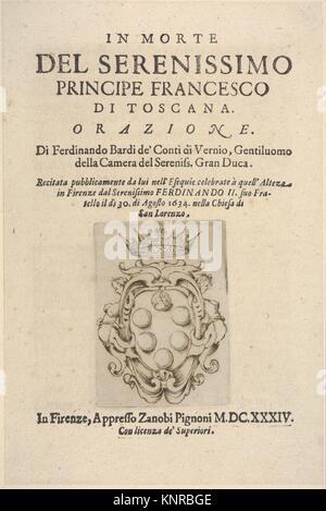 Title page 2: Medici coat of arms in bottom center, from In Morte del Serenissimo Principe Francesco di Toscana, - Stock Photo