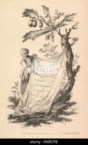 Title page: a smiling man holds a corner of a cloth tied to a fig tree and points with a stick to the cloth´s inscription, - Stock Photo