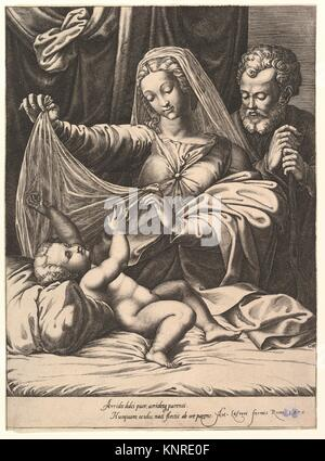 Madonna of Loreto, the Virgin lifts a veil above the Child, who lies on a bed and pillow, Joseph stands behind with - Stock Photo