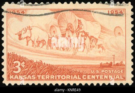 UNITED STATES OF AMERICA - CIRCA 1954: A stamp printed in USA shows Kansas Territorial Centennial, circa 1954 - Stock Photo