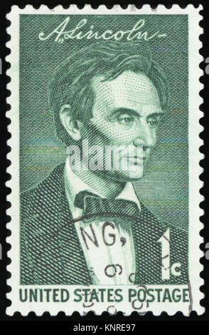 UNITED STATES - CIRCA 1958: stamp printed by United states, shows Lincoln, circa 1958 - Stock Photo