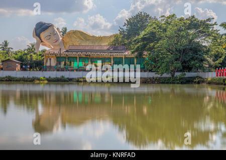 Mya Tha Lyaung Reclining Buddha, Bago, Myanmar, Asia - Stock Photo