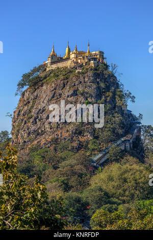 Mount Popa, Taung Kalat, Myanmar, Asia - Stock Photo