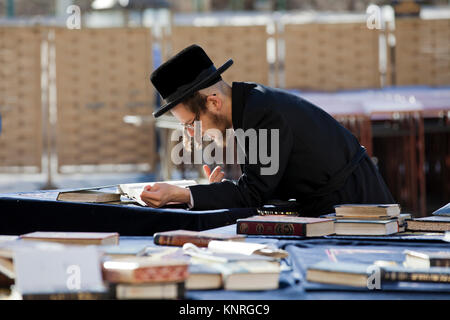 An orthodox Jew reads a torah at the Western Wall in the center of Jerusalem, Israel - Stock Photo