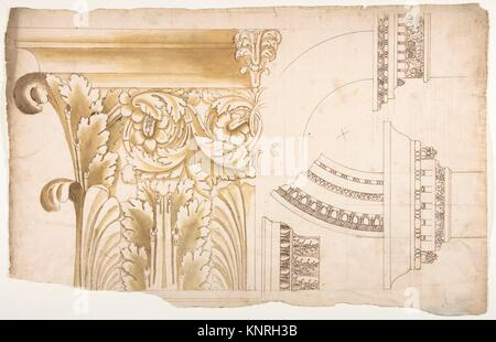 Arch of Septimius Severus, pilaster capital, elevation; impost and arch elevation; detail (recto) blank (verso). - Stock Photo