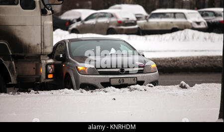 collision of the truck and car - Stock Photo