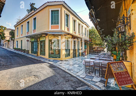 A picturesque restaurant of Plaka in Athens, Greece - Stock Photo