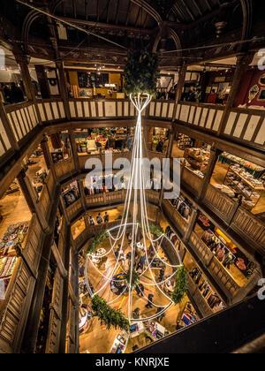 Liberty store Christmas decorations, London, UK. - Stock Photo