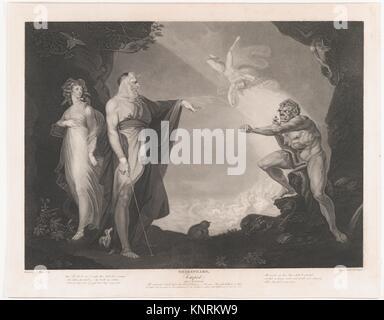The Enchanted Island Before the Cell of Prospero - Prospero, Miranda, Caliban and Ariel (Shakespeare, The Tempest, - Stock Photo