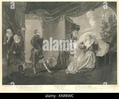 Olivia´s House - Olivia, Maria and Malvolio (Shakespeare, Twelfth Night, Act 3, Scene 4). Series/Portfolio: Boydell´s - Stock Photo