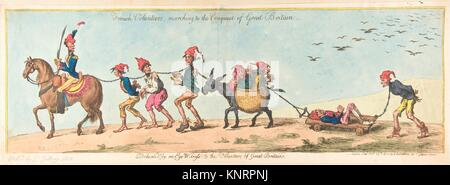 French Volunteers Marching to the Conquest of Great Britain. Artist: James Gillray (British, Chelsea 1756-1815 London); - Stock Photo