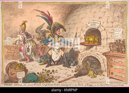 Tiddy-Doll, the Great French-Gingerbread-Baker; Drawing Out a New Batch of Kings, His Man Hopping Talley, Mixing - Stock Photo