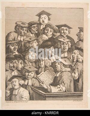 Scholars at a Lecture. Artist: William Hogarth (British, London 1697-1764 London); Date: March 3, 1736; Medium: - Stock Photo
