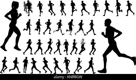 runners silhouettes collection - vector - Stock Photo