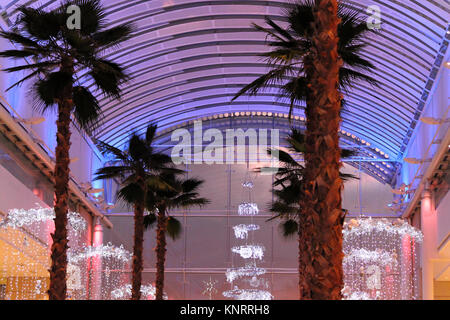 Christmas decoration in shopping centre, Bristol, England - December 20, 2014: Christmas at The Mall Cribbs Causeway shopping center.