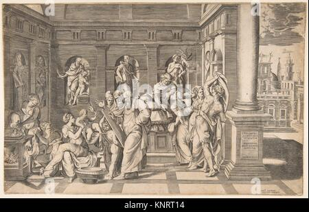 The birth of Saint John the Baptist. Artist: Giulio Bonasone (Italian, active Rome and Bologna, 1531-after 1576); - Stock Photo