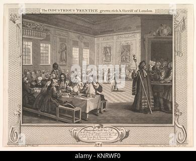 The Industrious ´Prentice Grown Rich and Sheriff of London (Industry and Idleness, plate 8). Artist: William Hogarth - Stock Photo