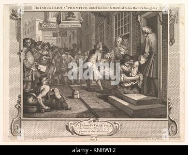 The Industrious ´Prentice Out of his Time and Married to his Master´s Daughter (Industry and Idleness, plate 6). - Stock Photo