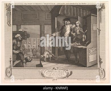 The Industrious ´Prentice a Favorite and Entrusted by his Master (Industry and Idleness, plate 4). Artist: William - Stock Photo