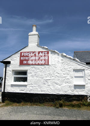 First and Last House, Land's End, Penwith Peninsula, Cornwall, England, UK in Summer - Stock Photo