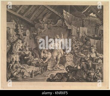 Strolling Actresses Dressing in a Barn. Artist: William Hogarth (British, London 1697-1764 London); Date: 1738; - Stock Photo