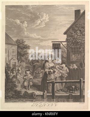 Evening (The Four Times of Day). Artist: William Hogarth (British, London 1697-1764 London); Date: March 25, 1738; - Stock Photo