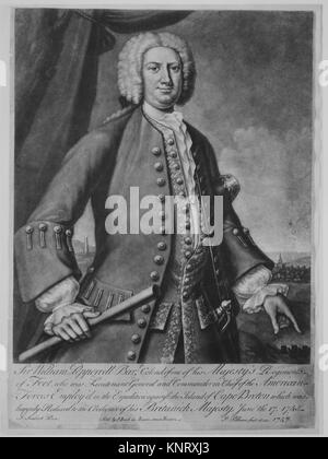 Sir William Pepperrell. Artist: Engraved and published by Peter Pelham (American (born England), London 1697-1751 - Stock Photo