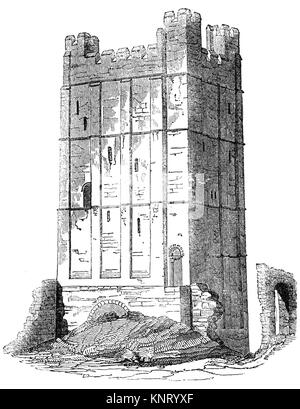 The keep of Richmond Castle, completed in 1086, in the market town of Richmond founded in 1071 by the Breton Alan - Stock Photo