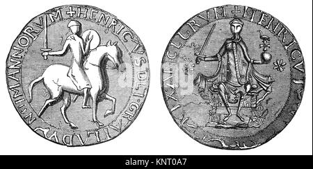 The Great Seal wss used to symbolise the Sovereign's approval of important state documents. King Henry I (1068 – - Stock Photo