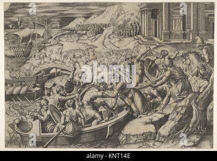 The abduction of Helen; battle scene on a shore with two men pulling Helen into a boat at center and another man - Stock Photo