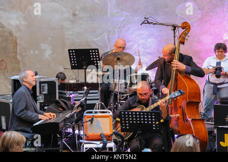 Spilamberto, Italy- October 02, 2016: Jazz Orchestra on stage on festivities in historic city center - Stock Photo